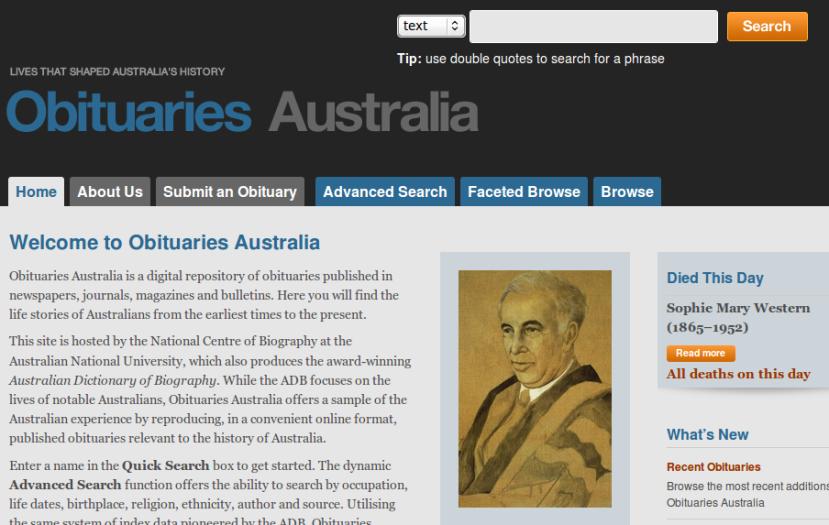 Obituaries Australia Home Page
