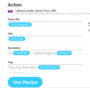 Setting up the Action Part of the IFTTT recipe