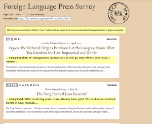 Foreign Language Press Survey Search Results Page