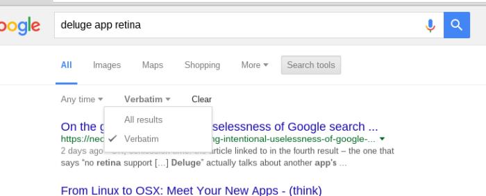 "Using Google's ""Verbatim"" Option"