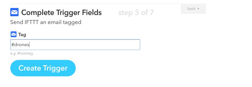 Create Trigger Fields IFTTT