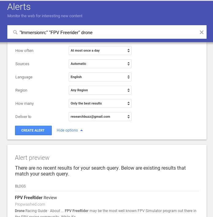 Google Alert Options