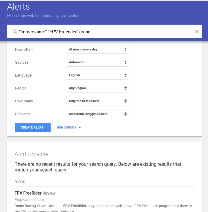 Google Alert Options