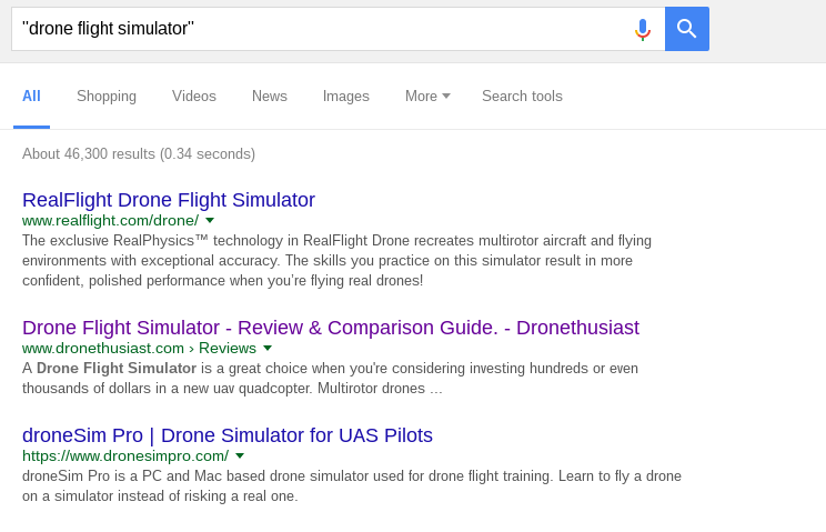 First search - Drone Flight Simulator