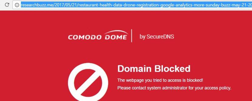 Comodo Dome Block Message