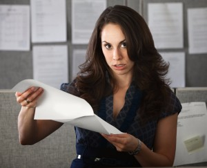 Woman reading document
