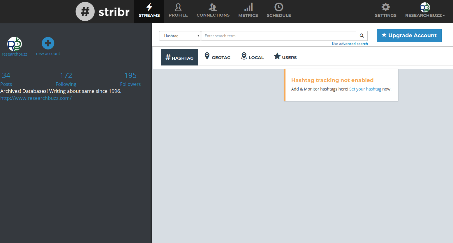 Stribrs dashboard for hashtag tracking.
