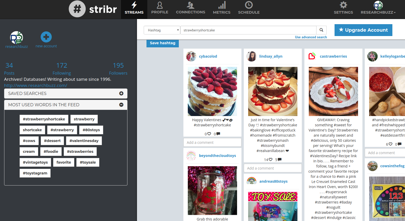 Following #strawberryshortcake on Instagram.