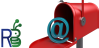 """Mailbox with """"at"""" sign resting on open door and ResearchBuzz logo."""