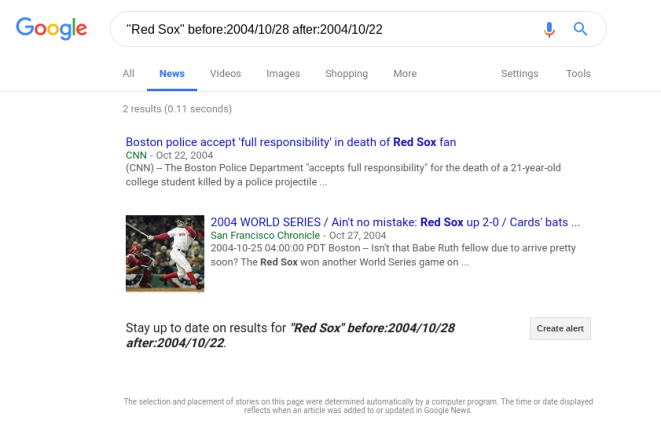 "Google News search results for ""Red Sox"" before:2004/10/28 after:2004/10/22"