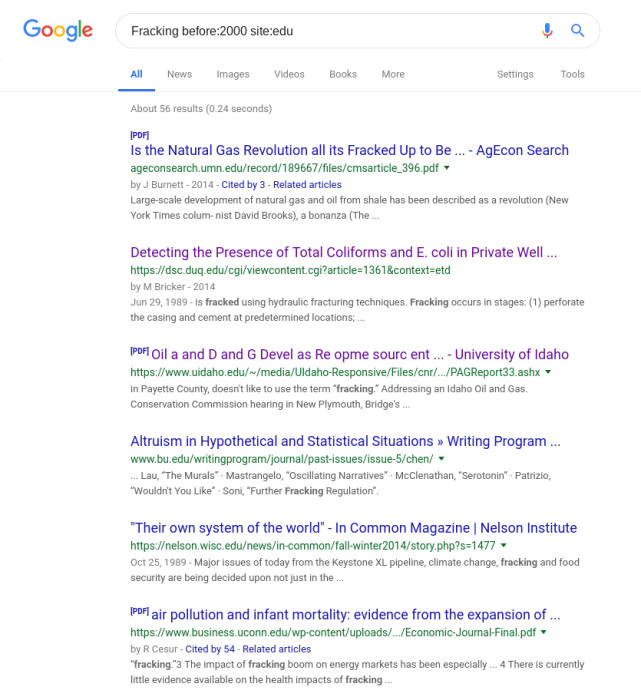 Google search for Fracking before:2000 site:edu