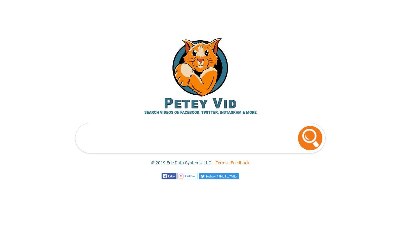 Homepage of new video metasearch site, Petey Vid