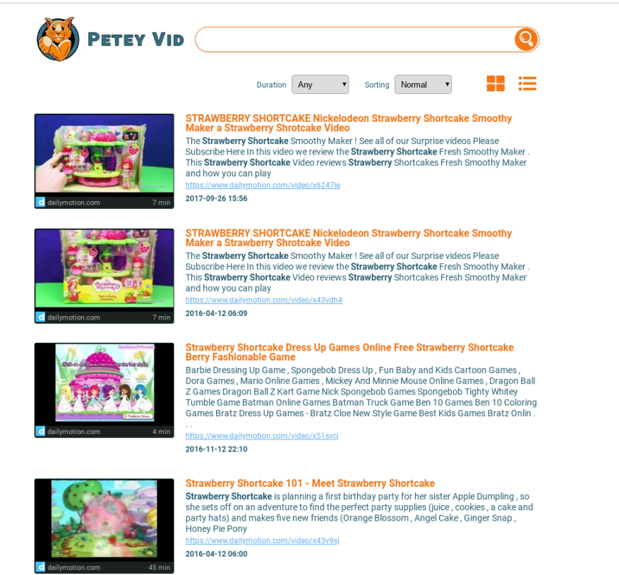Search results page for Petey Vid