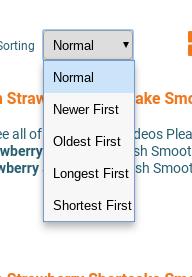 Petey Vid's sorting options.